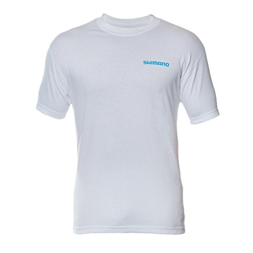 Shimano Short Sleeve Cotton Tee-Shirt, X-Large, White (Shimano Fishing Shirts For Men)