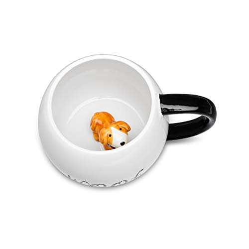 (Ceramic Coffee Mug With 3D Animal Surprise – Cat & Dog Tea Mug For Hot Drinks & Cold Beverages – Dishwasher Safe Novelty Cup With Comfortable Handle – Great Gift Idea For Pet Owners Large 17OZ (Dog))