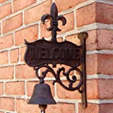 - UD Fleur De Lis Welcome Dinner Bell Rustic Cast Iron