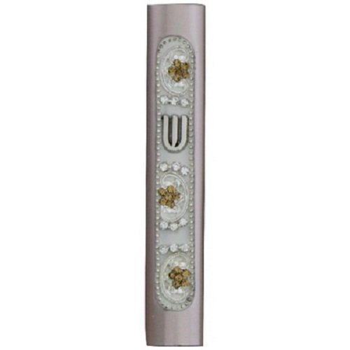 Mezuzah - Handmade Jeweled Home Blessing Cover, Aluminum - Light Turquoise With White and Gold Stones, 7 Centimeters