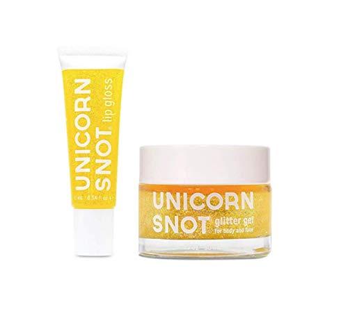 (Unicorn Snot Holographic Glitter Lip Gloss + Gel, Combo Pack, Vegan & Cruelty-Free (Gold))