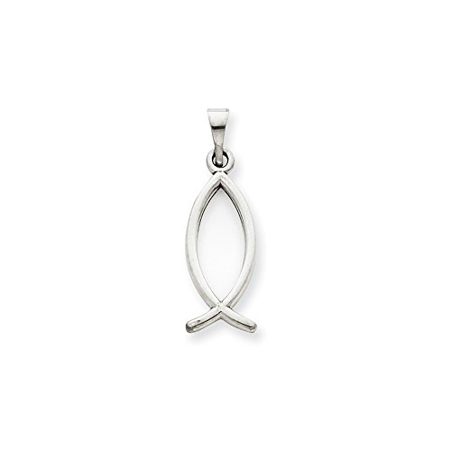 FB Jewels Solid 14K White Gold Ichthus Fish Pendant ()