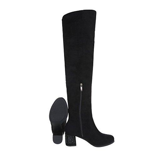 Schuhcity24 Damen Schuhe Stiefel High Heels Schnürer Modell Nr 8 Schwarz