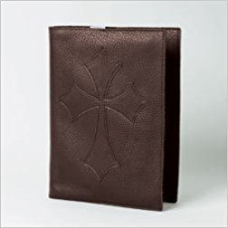 Bob Siemon Designs - Large Genuine Brown Leather Flared Cross Bible Book Cover