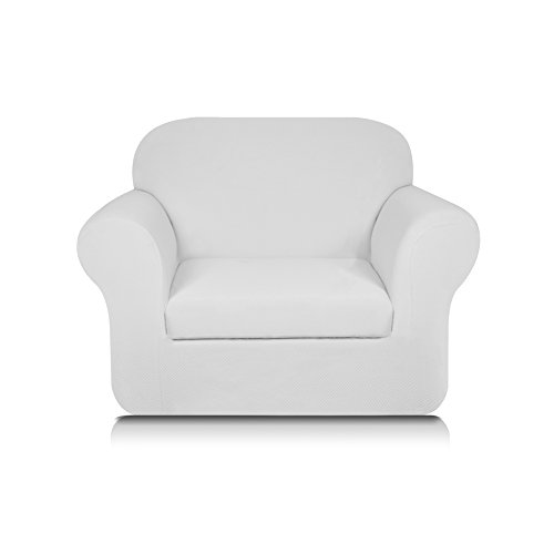 Subrtex Knit Jacquard Spandex Stretch 2-Piece Sofa Slipcover (Chair, - Arm Chair White Slipcover With