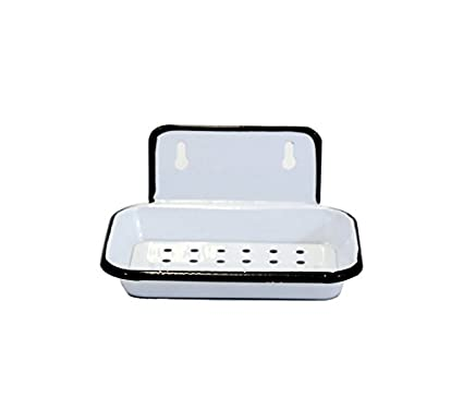 bc189f064c Image Unavailable. Image not available for. Color: White Enamel Wall Soap  Dish ...