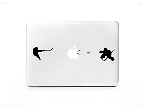 Amazon com hockey player shot sticker decal for macbook pro pc laptop window car or wall computers accessories