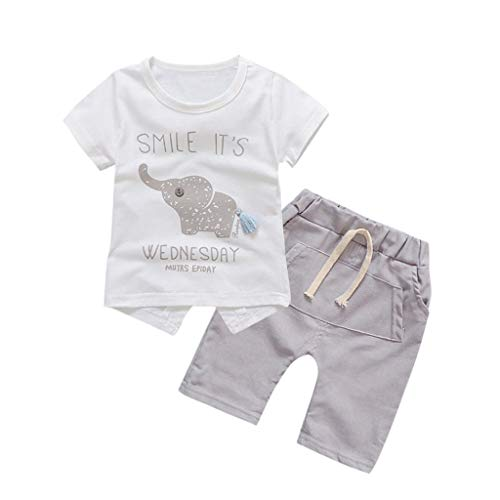 Baby Girls Summer Pajamas Set Cheap,Infant Baby Girls Cartoon Elephant Tee Tops + Shorts Pants(Gray,110) by Wesracia (Image #1)