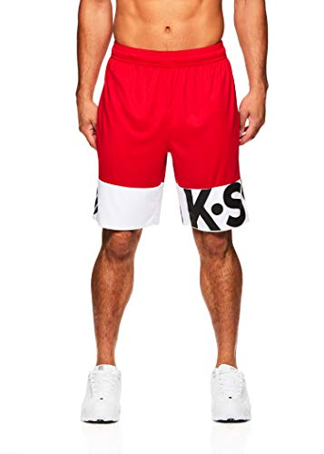 K-Swiss Men's Athletic Shorts - Running Gym & Workout Short w/Elastic Waistband - Lines Varsity Red, X-Large