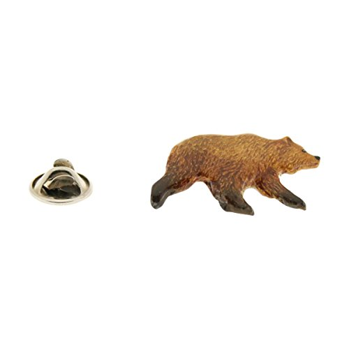 Grizzly Bear Pin ~ Hand Painted ~ Lapel Pin ~ Sarah's Treats & Treasures - Pewter Grizzly Bear