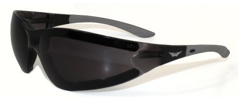 Ruthless Padded Motorcycle ATV Power Sports Protective Glasses Sunglasses Smoke Tinted Lens