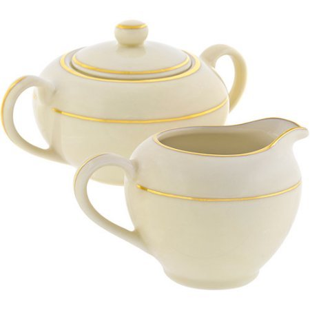- 10 Strawberry Street Cream Double Gold 8 oz Creamer and 8 oz Covered Sugar, Set, Cream with Gold Border
