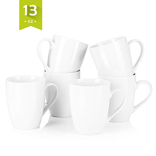 Malacasa 12 oz Porcelain Cups Handle Ceramic Drink Cup Set, Set of 6 for Water, Coffee, Milk, Juice, Tea, Ivory White, Series Elisa