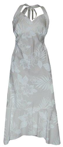 Pacific Legend Womens Elegant Tropical White Empire Halter Sundress Wedding White (Poplin Empire Dress)