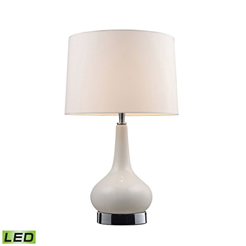 """Manhattan Collection Mary-Kate and Ashley 18"""" Continuum White LED Table Lamp in Chrome"""