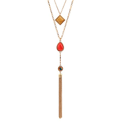 Pendant Necklace Orange - Vintage Long Chain Ajustable Statement Necklace 2 layer Necklace Tassel Pendant Necklace Orange Stone