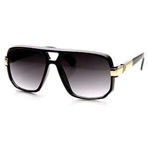 zeroUV - Classic Square Frame Plastic Flat Top Aviator Sunglasses (Black Gold)