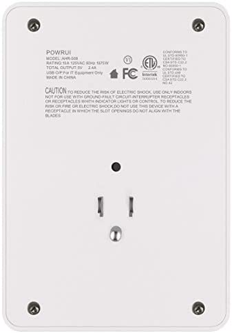 31AIRu8AdDL. AC USB Wall Charger, Surge Protector, POWRUI 6-Outlet Extender with 2 USB Charging Ports (2.4A Total) and Night Light, 3-Sided Power Strip with Adapter Spaced Outlets - White,ETL Listed    ABC