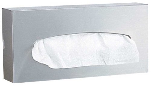 (Bobrick 8397 304 Stainless Steel 2 Ply Surface Mounted 100 Facial Tissue Dispenser, Satin Finish, 10-1/4