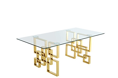Meridian Furniture 714-T Pierre Collection Modern | Contemporary Square Glass Dining Table with Stainless Steel Base and Rich Gold Finish, 78