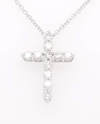 - Round Diamond Cross Pendant Necklace, 14K Gold, Adjustable Chain (G-H Color, SI2-I1 Clarity) (White-Gold, 0.33)