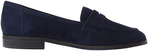 Nine West - Antonecia Suede Slip-on Loafer, Azul Oscuro