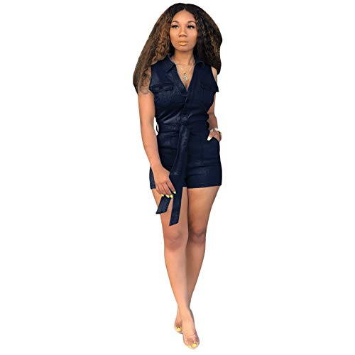 Fastkoala Women Casual Turndown Collar Sleeveless Denim Jeans One Piece Short Jumpsuit Rompers Hight Waist Bodycon Sports Bodysuit Catsuit Jumper Playsuit with Belt Pockets Dark Blue, X-Large