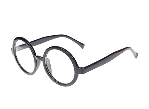 LATERLO Geek BLACK Framed Temple Clear Lens Eye Glasses Circular Round - Circular Glasses Framed