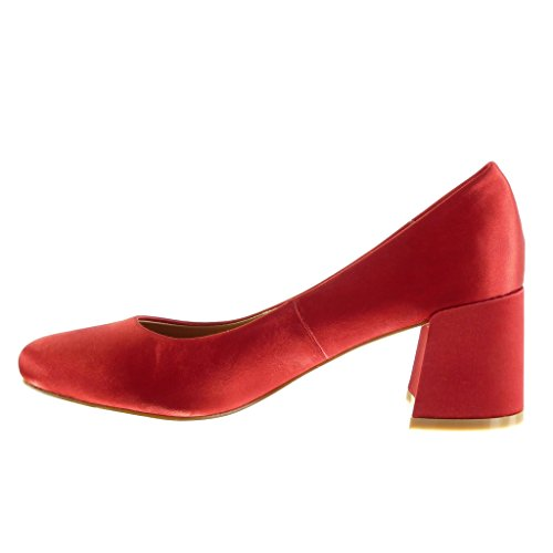 on Bloc 6 Mode Slip Haut Chaussure 5 Rouge Escarpin CM Femme Angkorly Talon wBxIz5Oq