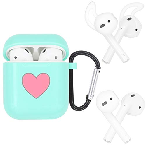 JNSA Soft Silicone Cover Skin Case for AirPods with Ear Tips Ear Hook 2 Style & Belt Clip, Silicone AirPods Case Cover Skin Accessories Kits Set for Girls Female,Glossy Mint - Skin Kit Belt Clip Silicone