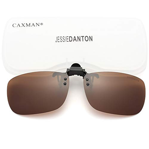 CAXMAN Polarized Clip On Sunglasses Over Prescription Glasses for Men Women UV Protection Flip Up Brown Lens Large
