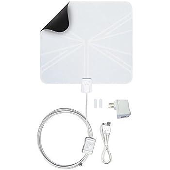 Winegard FlatWave Amped FL5500A Digital HD Indoor Amplified TV Antenna (4K Ready / ATSC 3.0 Ready /   High-VHF / UHF / Ultra-Thin / Black and White - Reversible / USB Power Supply) - 50 Mile Long Range OTA   Antenna