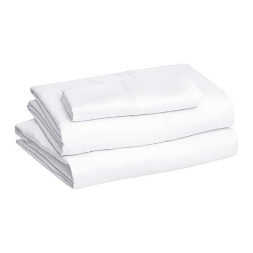 AmazonBasics Light-Weight Microfiber Sheet Set, Twin, Bright White