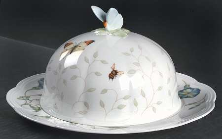 Lenox Butterfly Meadow Round Covered Butter, Fine China Dinnerware by Lenox