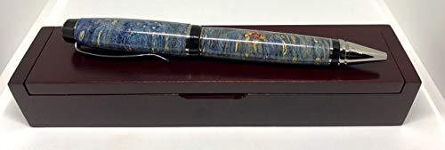 Personalized Handcrafted Wood - Bendecidos Pens - Blue Maple Burl Partagas Pen - Black Titanium