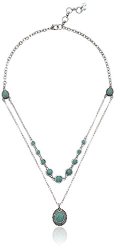 "Boho-Chic Vacation & Fall Looks - Standard & Plus Size Styless - Lucky Brand Gem Bazaar Turquoise Double-Layer Pendant Necklace, 20"" + 2"" Extender"