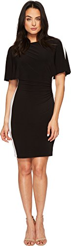 Lauren by Ralph Lauren Women's Poline Two-Tone Matte Jersey Dress Black/Lauren White - Lauren Ralph Cape