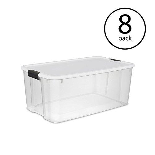 (STERILITE 116-Quart Clear Storage Box, 8-Pack)