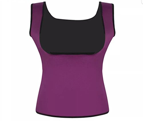 (JCOB Weight Loss Tank Top Sweat Burn Calories Waist Trimmer Fitness Gym Neoprene Women's Vest Body Shaper for Weight Loss Training (Purple, X-Large))