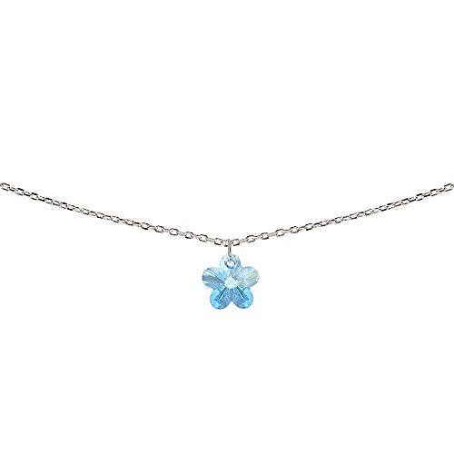 GemStar USA Sterling Silver Light Blue Flower Choker Necklace Made with Swarovski Crystals