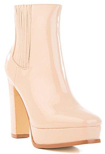 Cape Robbin Women Patent Vegan Square Toe Platform Chunky Heel Bootie 7.5 - Josie Platform Shoes