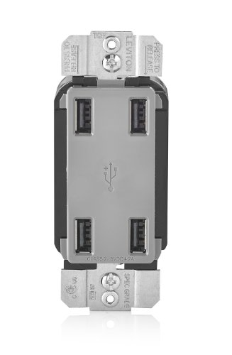 Leviton USB4P-GY 4.2-Amp High Speed 4-Port USB Charger, Grey