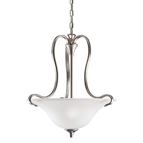 Kichler Wedgeport Inverted Pendant (Brushed Nickel 2-Bulb Indoor Pendant with Bowl-Shaped Glass Shade 3585NI)