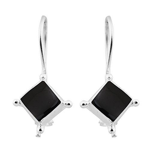 2.54ctw,100% Natural Black Onyx & 925 Silver Plated Stud Earrings Made By Sterling Silver Jewelry