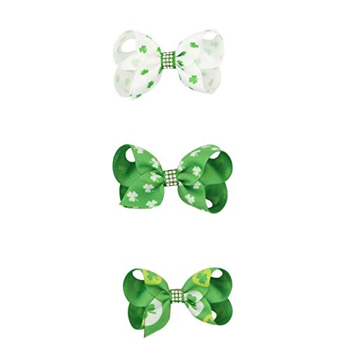 Astra Gourmet Set of 3 St Patricks Shamrock Green Hair Bows Alligator Clips Hairpins for Baby Girls