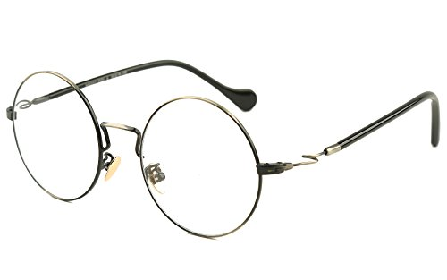 Beison Vintage Large Round Optical Metal Glasses Frame Clear Lens 49mm (Gunmetal, - John Spectacles Lennon