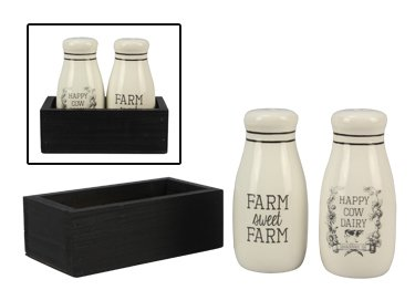 Ceramic Farm Salt & Pepper Shaker Set in Box ()