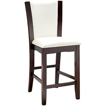 Furniture of America Archie Leatherette Upholstered Counter Height Chair, White, Set of 2