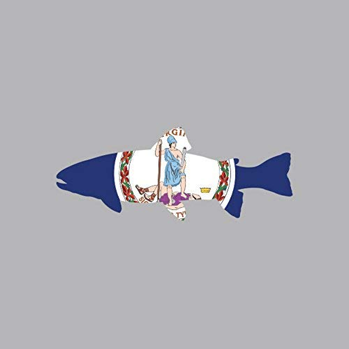 Virginia State Shaped Trout Sticker Vinyl Decal Sticker VA Fly Fishing Fish Made in USA