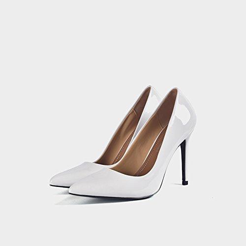 De De Zapatos Zapatos Trabajo Punta De Talón Cm Alto De Zapatos Con Pintada De Solo Superficial Profesional 8 Blanco Mujer GAOLIM De 10Cm Boca Zapatos de cm 8 Fina w6U80q